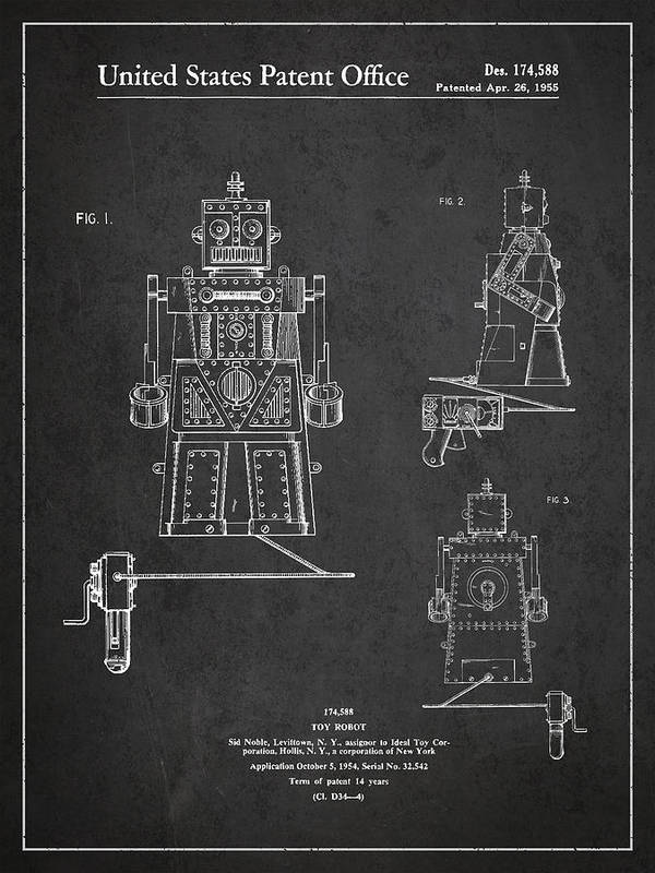 Starwars Print featuring the drawing Vintage Toy Robot Patent Drawing From 1955 by Aged Pixel