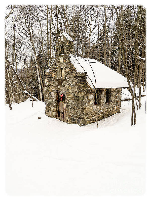 Chapel Print featuring the photograph Chapel In The Woods Stowe Vermont by Edward Fielding