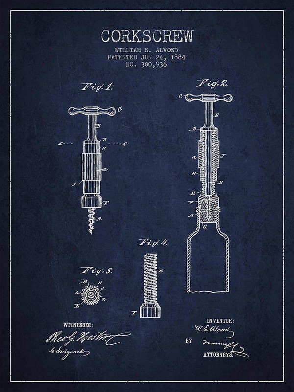 Corkscrew Print featuring the drawing Corkscrew Patent Drawing From 1884 by Aged Pixel