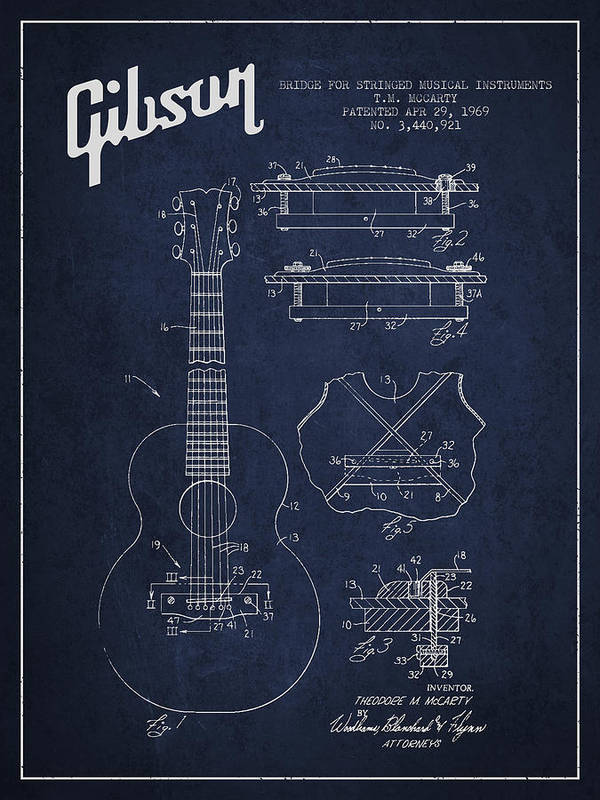 Gibson Print featuring the drawing Mccarty Gibson Stringed Instrument Patent Drawing From 1969 - Navy Blue by Aged Pixel