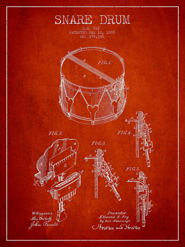 Snare Drum Print featuring the drawing Vintage Snare Drum Patent Drawing From 1889 - Red by Aged Pixel