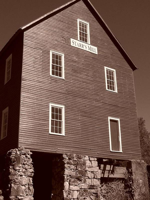 Sepia Phtotgraphy Print featuring the photograph Starr's Mill Ga by Jake Hartz