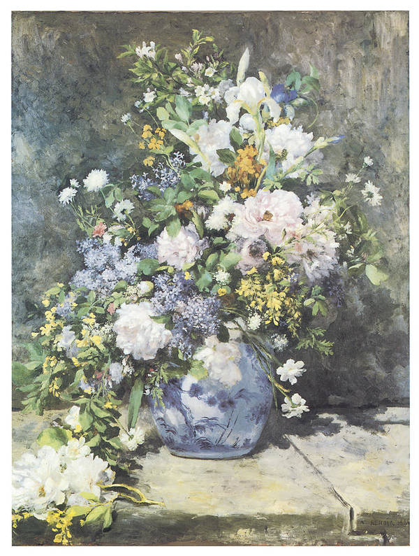 Pierre-auguste Renoir Print featuring the painting Vase Of Flowers by Pierre-Auguste Renoir