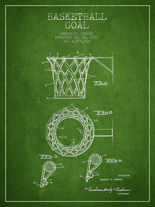 Hoop Patent Print featuring the drawing Vintage Basketball Goal Patent From 1951 by Aged Pixel