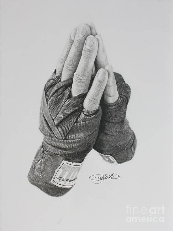 Boxing Print featuring the drawing A Boxer's Prayer by Joshua Navarra