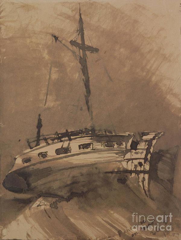 A Ship In Choppy Seas Print featuring the painting A Ship In Choppy Seas by Victor Hugo