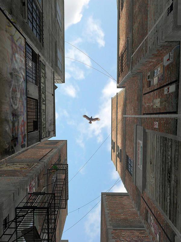 Urban Print featuring the digital art Afternoon Alley by Cynthia Decker