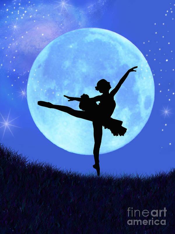 Ballet Print featuring the digital art Blue Moon Ballerina by Alixandra Mullins