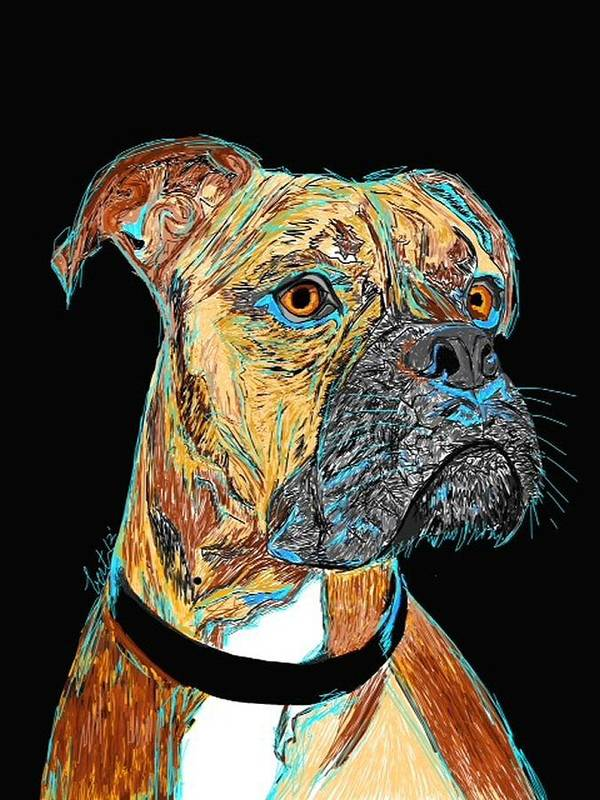 Boxer Print featuring the painting Boxer - Bud by Bert Hornbeck