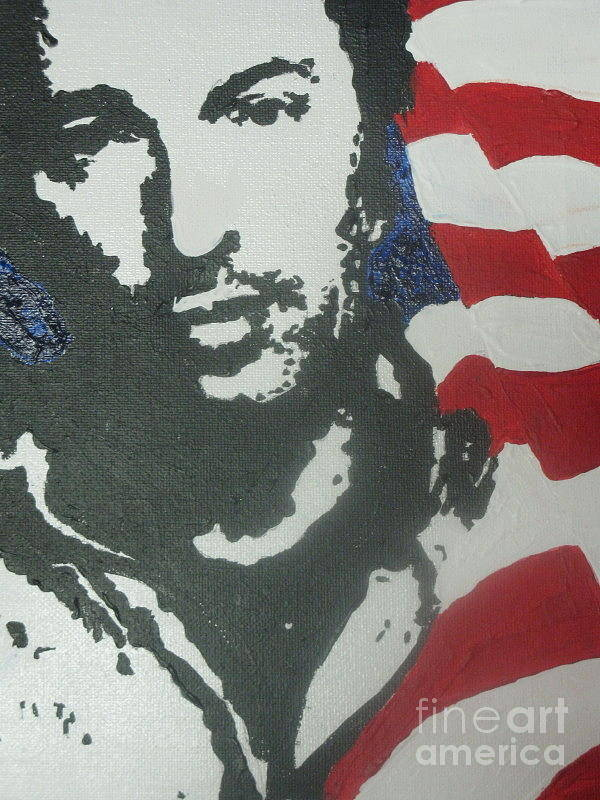 Rock N Roll Print featuring the painting Bruce by Moira Ferguson