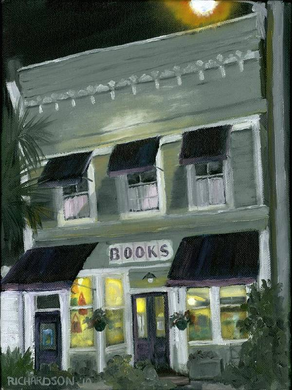 Apalachicola Print featuring the painting Downtown Books 11 by Susan Richardson