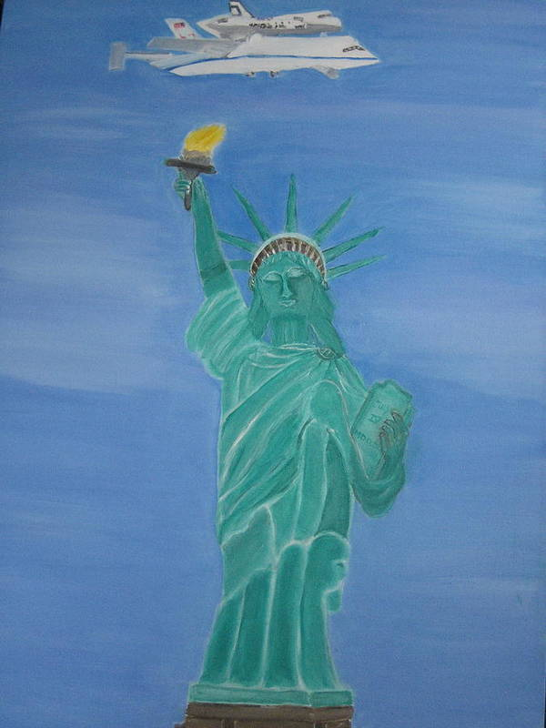 Space Shuttle Enterprise Print featuring the painting Enterprise On Statue Of Liberty by Vandna Mehta