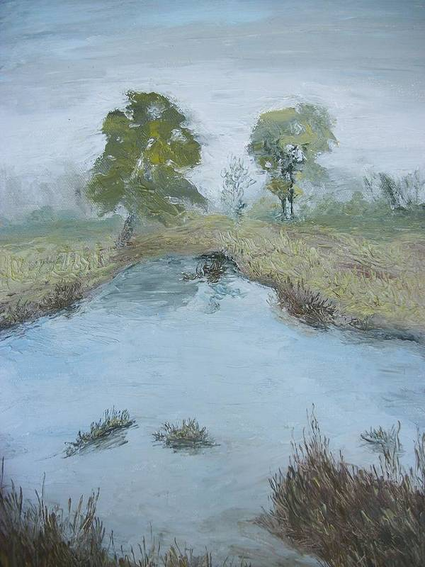 Pond Print featuring the painting Farm Pond by Dwayne Gresham