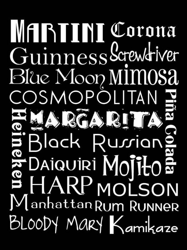 Sign Print featuring the digital art Favorite Drinks by Jaime Friedman