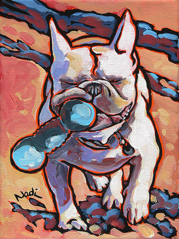 French Bulldog Print featuring the painting French Bulldog And Toy by Nadi Spencer