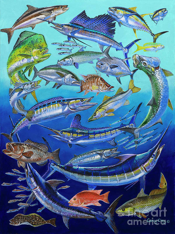 Gamefish Print featuring the painting Gamefish Collage In0031 by Carey Chen