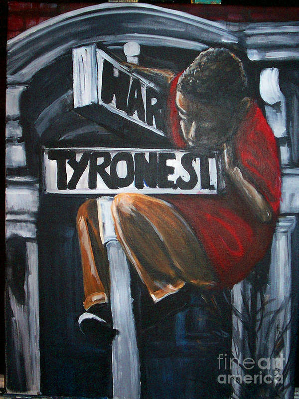 Logo Print featuring the painting I Live On T.y.r.o.n.e St. Between Hart St. by Tyrone Hart