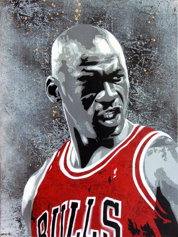 Michael Jordan Print featuring the painting Jordan by Bobby Zeik