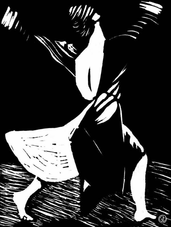 Woman Print featuring the drawing Joyful Dance by Gun Legler