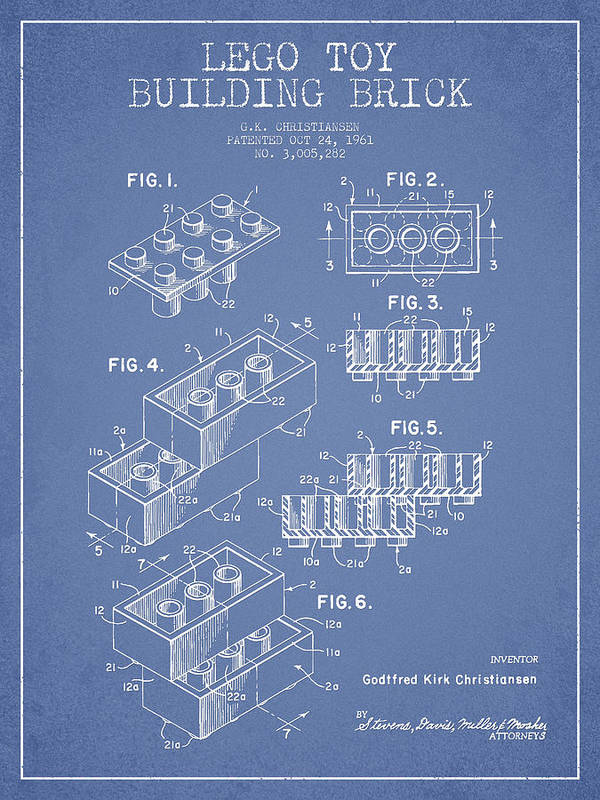 Lego Print featuring the drawing Lego Toy Building Brick Patent - Light Blue by Aged Pixel