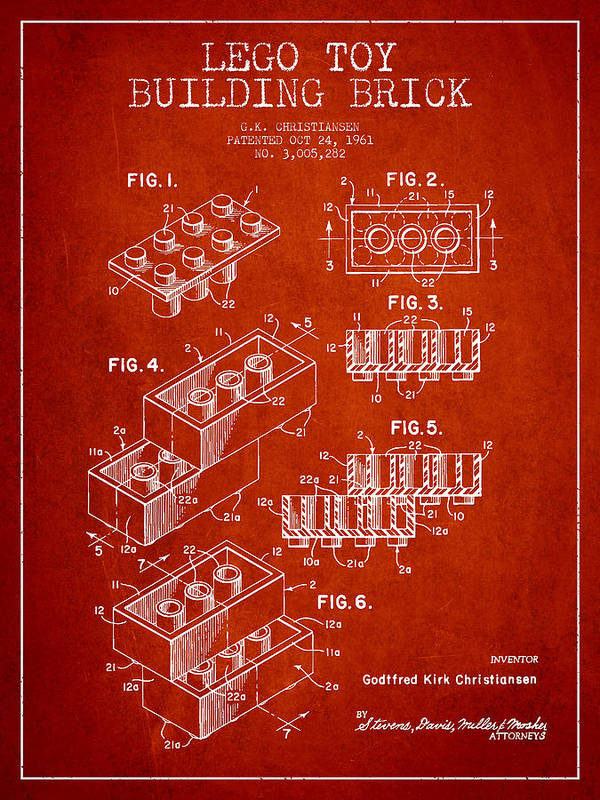 Lego Print featuring the drawing Lego Toy Building Brick Patent - Red by Aged Pixel