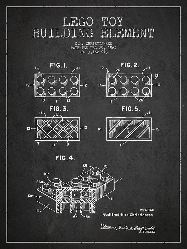 Lego Print featuring the drawing Lego Toy Building Element Patent - Dark by Aged Pixel