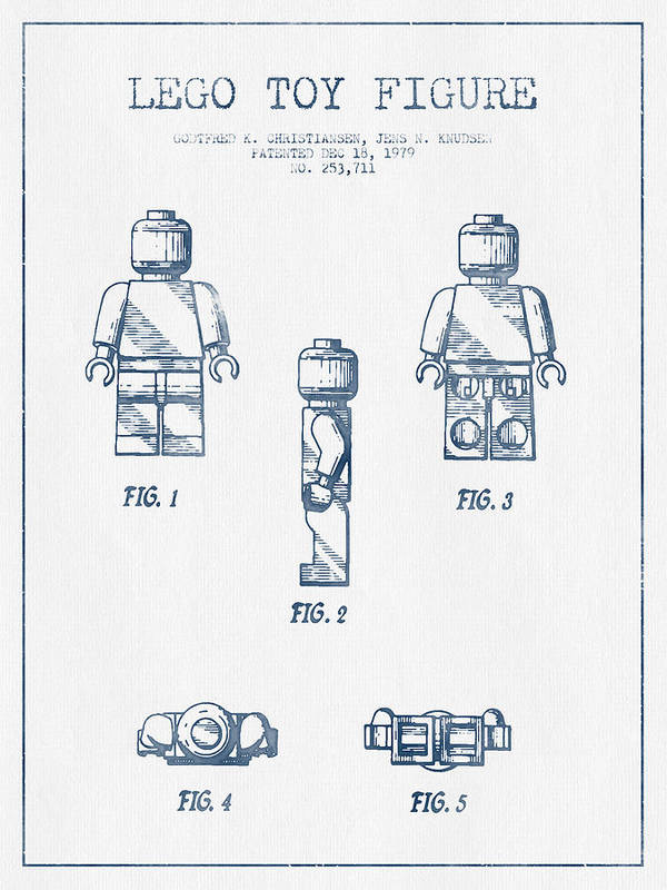 Lego Print featuring the drawing Lego Toy Figure Patent - Blue Ink by Aged Pixel