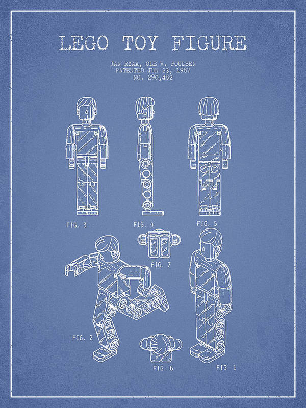 Lego Print featuring the drawing Lego Toy Figure Patent - Light Blue by Aged Pixel
