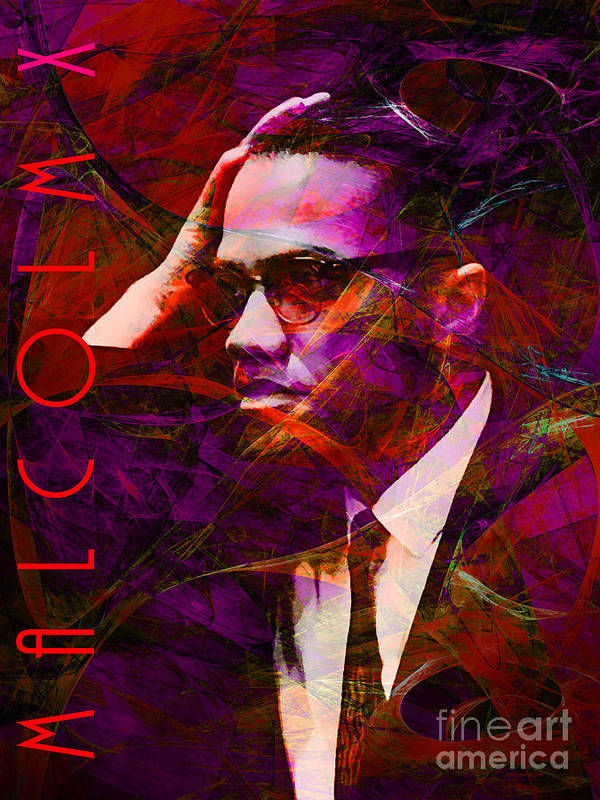 Celebrity Print featuring the photograph Malcolm X 20140105m28 With Text by Wingsdomain Art and Photography