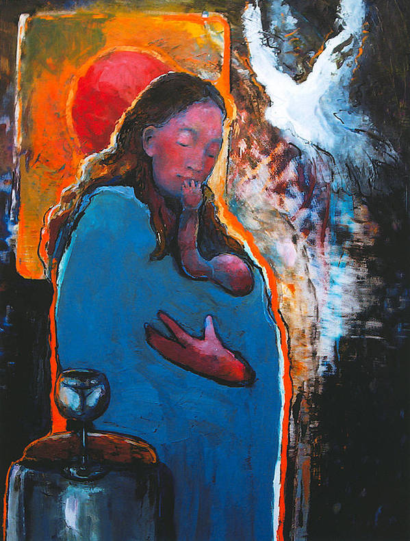 Madonna Print featuring the painting Mary's Pondering by Daniel Bonnell
