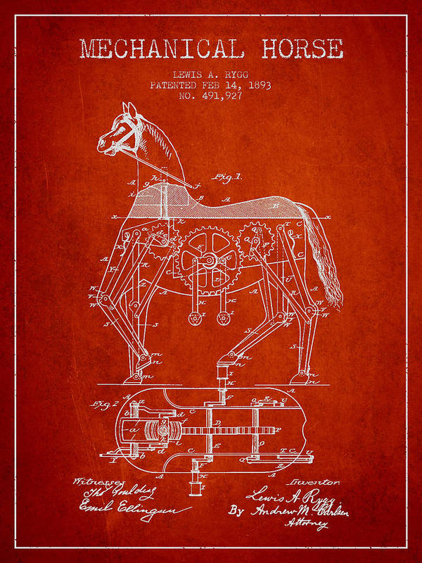 Horse Print featuring the drawing Mechanical Horse Patent Drawing From 1893 - Red by Aged Pixel