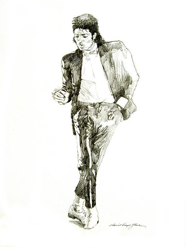 Michael Jackson Print featuring the drawing Michael Jackson Billy Jean by David Lloyd Glover
