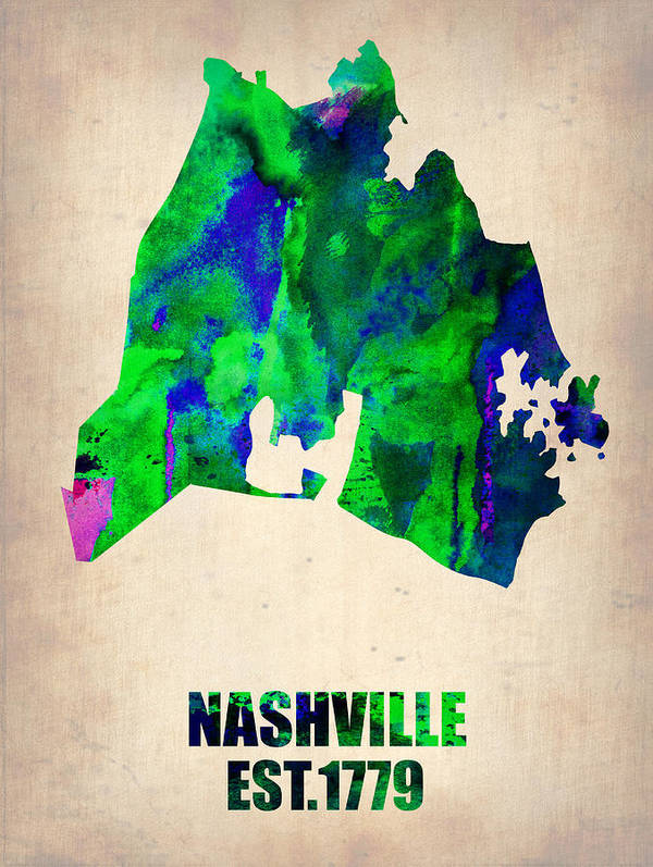 Nashville Print featuring the painting Nashville Watercolor Map by Naxart Studio