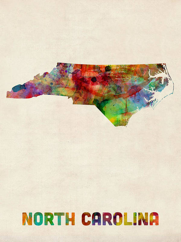 United States Map Print featuring the digital art North Carolina Watercolor Map by Michael Tompsett