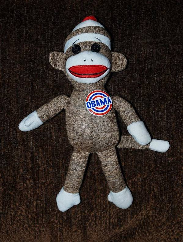 Potus Print featuring the photograph Obama Sock Monkey by Rob Hans