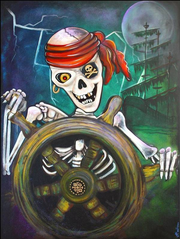 Pirate Print featuring the painting Pirate Moon by Laura Barbosa