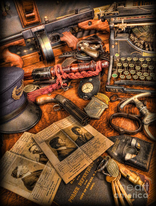Police Print featuring the photograph Police Officer- The Detective's Desk II by Lee Dos Santos