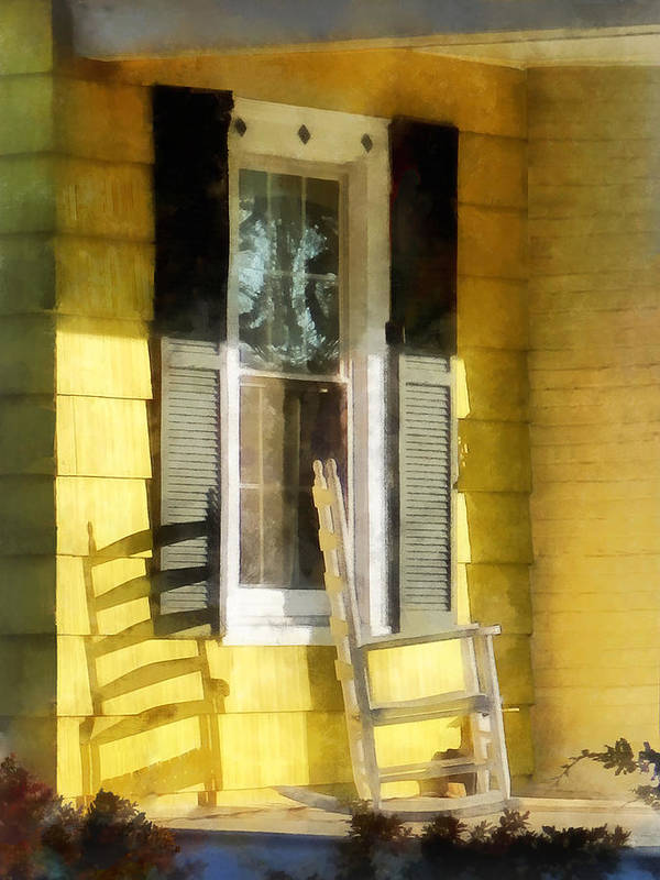 Shadow Print featuring the photograph Porch - Long Afternoon Shadow Of Rocking Chair by Susan Savad