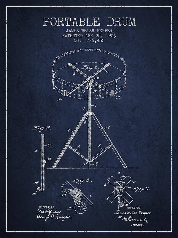 Drum Print featuring the drawing Portable Drum Patent Drawing From 1903 - Blue by Aged Pixel