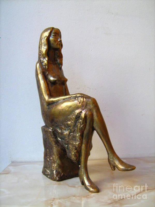 Nikola Litchkov Print featuring the sculpture Portrait Of Girl by Nikola Litchkov