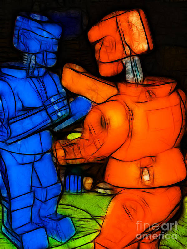 Robot Print featuring the photograph Rockem Sockem Robots - Color Sketch Style - Version 3 by Wingsdomain Art and Photography