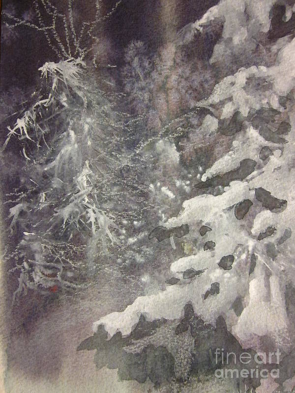 Snow Print featuring the painting Silent Night by Elizabeth Carr