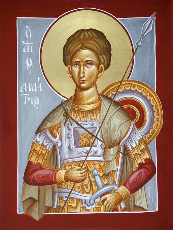 St Dimitrios Print featuring the painting St Dimitrios The Myrrhstreamer by Julia Bridget Hayes