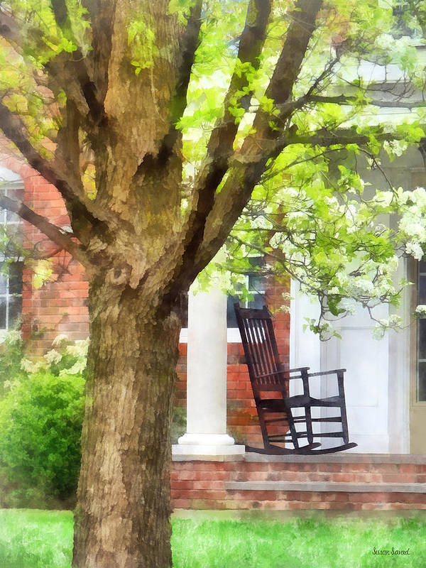 Porch Print featuring the photograph Suburbs - Rocking Chair On Porch by Susan Savad