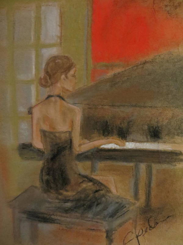 Female Print featuring the pastel Sunday Recital by C Pichura