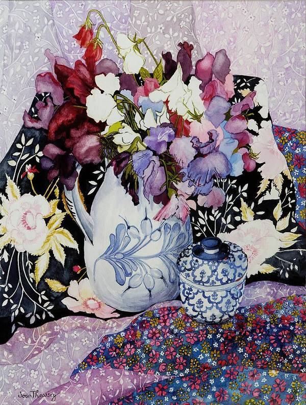 Still Life; Colorful; Patterns; Patterned; Floral Motif; Flowers; Vibrant; Arrangement; Composition Print featuring the painting Sweet Peas In A Blue And White Jug With Blue And White Pot And Textiles by Joan Thewsey