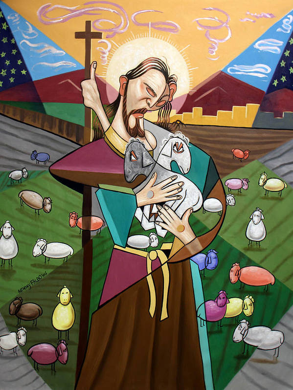 The Lord Is My Shepherd Print featuring the painting The Lord Is My Shepherd by Anthony Falbo