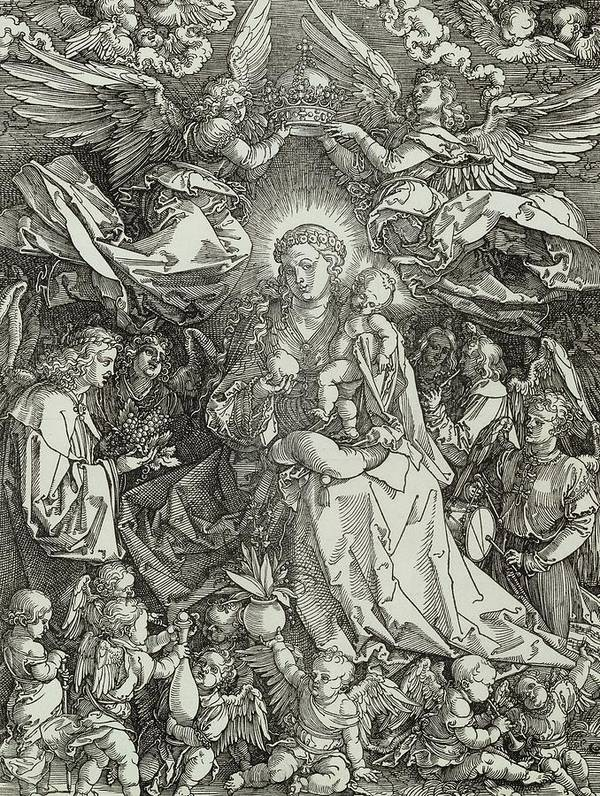 Religion; Religious; Christianity; Christian; New Testament; Mary; Virgin; Jesus; Christ; Mother; Baby; Angel; Cherub; Male; Female Print featuring the painting The Virgin And Child Surrounded By Angels by Albrecht Durer or Duerer