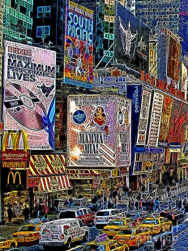 Time Square Print featuring the photograph Time Square New York 20130430v3 by Wingsdomain Art and Photography