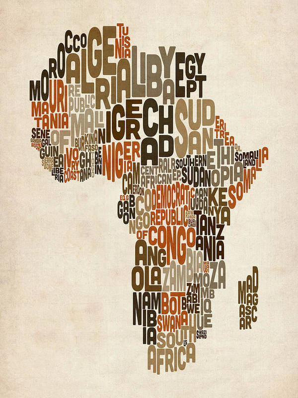 Africa Map Print featuring the digital art Typography Text Map Of Africa by Michael Tompsett